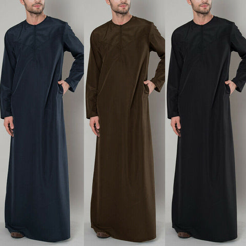 Men's Thobe Abaya Zipper Shirt Long Sleeve