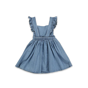 Onederful Co. Girls Denim Ruffle Dress Backless