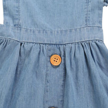 Load image into Gallery viewer, Onederful Co. Girls Denim Ruffle Dress Wood Buttons