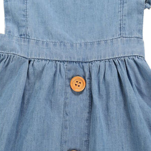 Onederful Co. Girls Denim Ruffle Dress Wood Buttons
