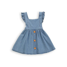 Load image into Gallery viewer, Onederful Co. Girls Denim Ruffle Dress