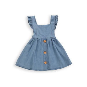 Onederful Co. Girls Denim Ruffle Dress