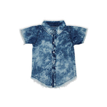 Load image into Gallery viewer, Onederful Co. Boys Distressed Denim Button Up Shirt