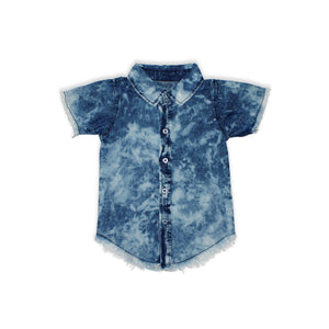 Onederful Co. Boys Distressed Denim Button Up Shirt