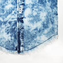 Load image into Gallery viewer, Onederful Co Boys Distressed Denim Button Up Shirt hem.