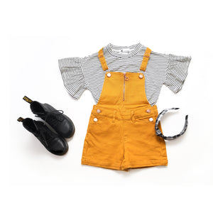 Onederful Co Girls Mustard shortall overall with heart pockets and ruffle sleeve top.