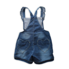 Load image into Gallery viewer, Girls | Denim Ruffle Heart Shortalls