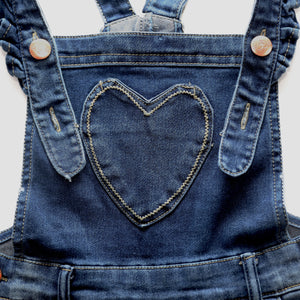Girls | Denim Ruffle Heart Shortalls