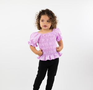 Onederful Co. Girls Puff Sleeve Top Purple