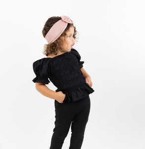 Onederful Co. Girls Puff Sleeve Top Black