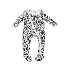 Load image into Gallery viewer, Onderful Co. Baby Onesie in modern black and white print by JOJO&IZZY