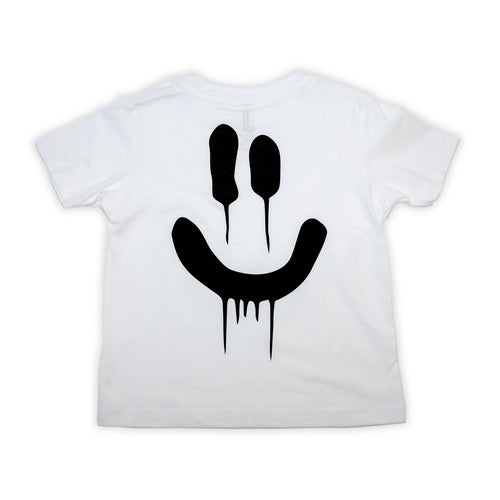 Toddler Boy in Jojo&Izzy White Infant Drip smile tee