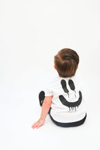 Load image into Gallery viewer, Toddler Boy in Jojo&Izzy White Infant Drip smile tee