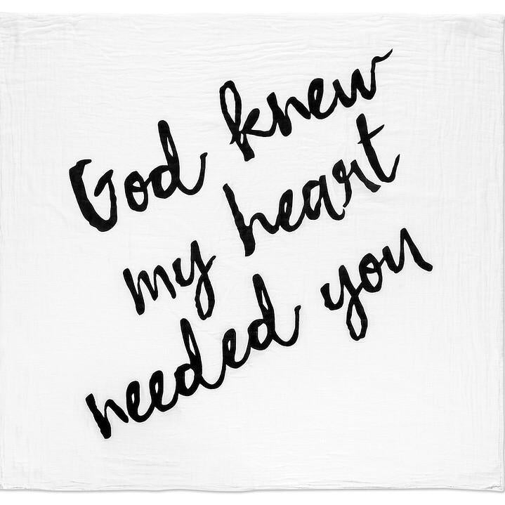 NEW | Organic Muslin Swaddle Blanket - God Knew My Heart