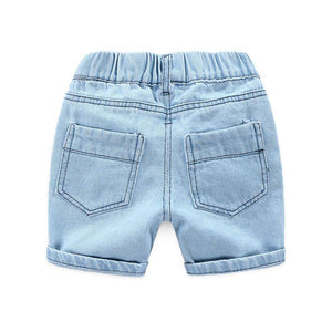 Onederful Co. Destructed Denim Short for Boys. Back Pockets.