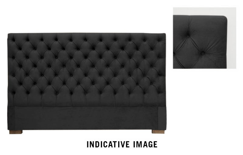 Black Velvet Headboard - King