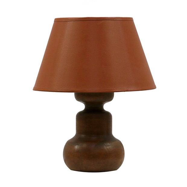 JAVA WOODEN URN LAMP WITH COMPLIMENTARY SHADE RECONSTITUTED WOOD(MDF)+COTTON 510H