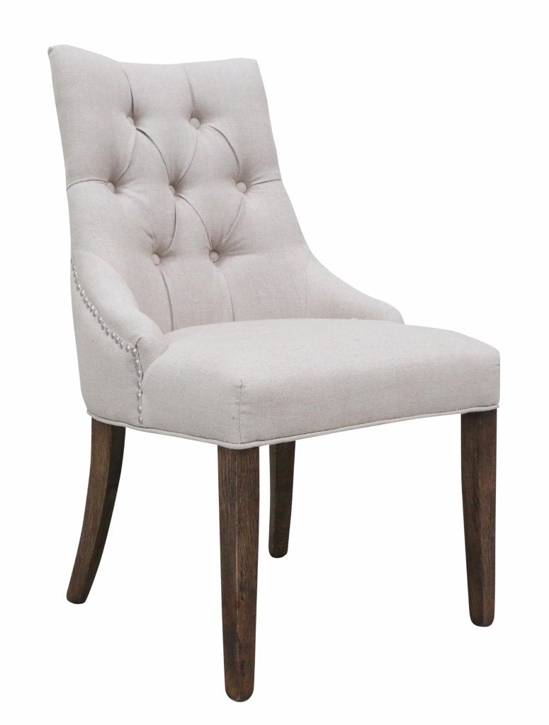 Livina Deep Button Chair 100% Linen Natural Oak Legs & Silver Studs
