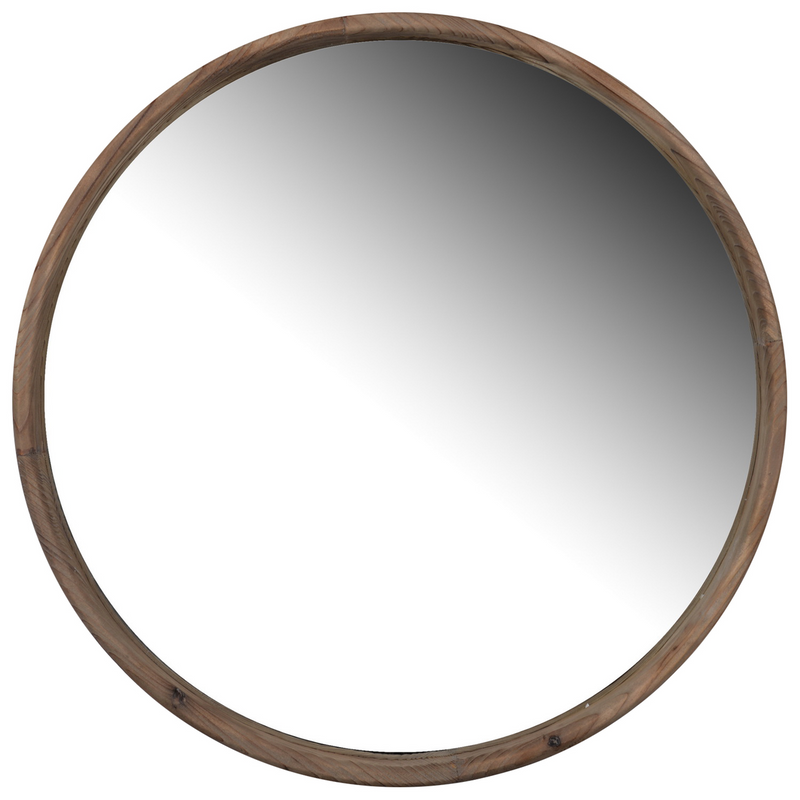 Round Wooden Wall Mirror - Large