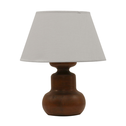 SET OF 2 JAVA WOODEN URN LAMP WITH COMPLIMENTARY SHADES IN STONE COLOUR SKU | BU9608 510H