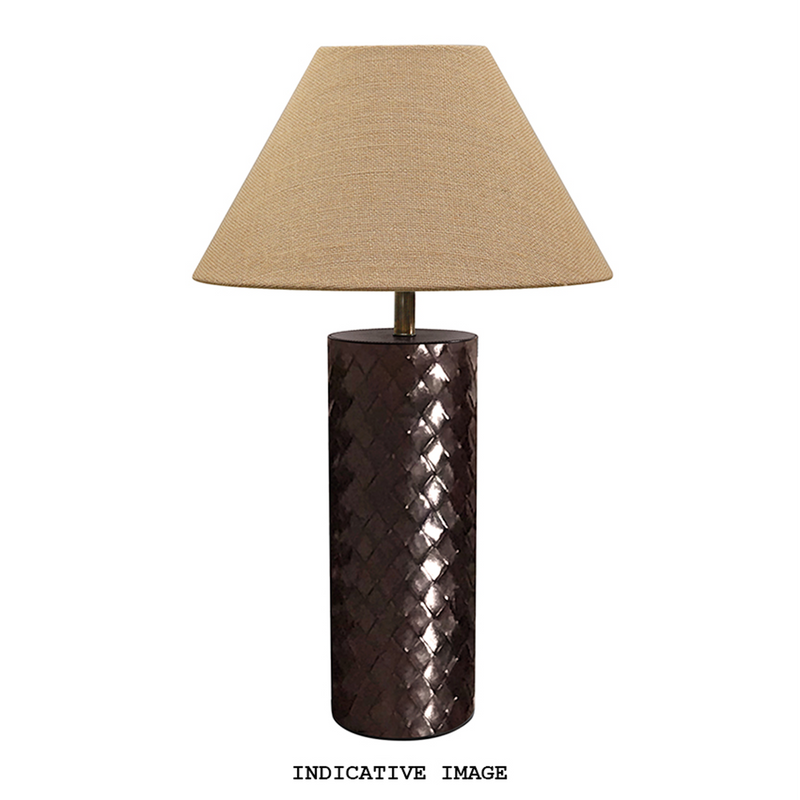 WOVEN LEATHER LAMP BASE DARK BROWN