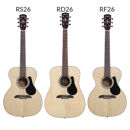 Three options of acoustic guitar rentals. The Alvarez RS26, Alvarez RD26, and Alvarez RF26.