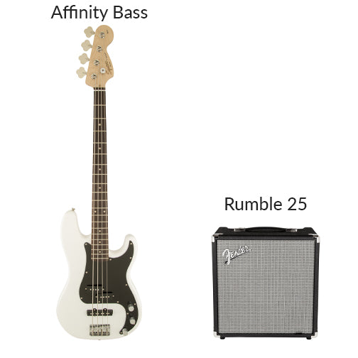 Electric bass rental option--Squier affinity bass. Fender Rumble 25 amplifier.