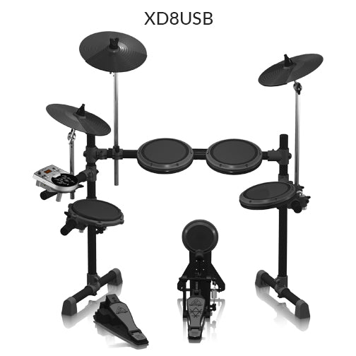 Electric Drums rental option. Behringer XD8USB with throne and pedal. Fender Rumble 25 amplifier.