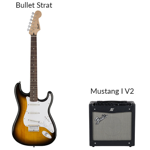 Electric Guitar rental option--Squier bullet strat. Mustang I V2 amplifier.