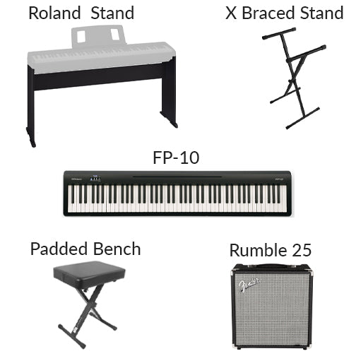Keyboard rental options. Roland FP-10, X-braced stand, Roland piano stand, padded bench, Fender Rumble 25 amplifier.