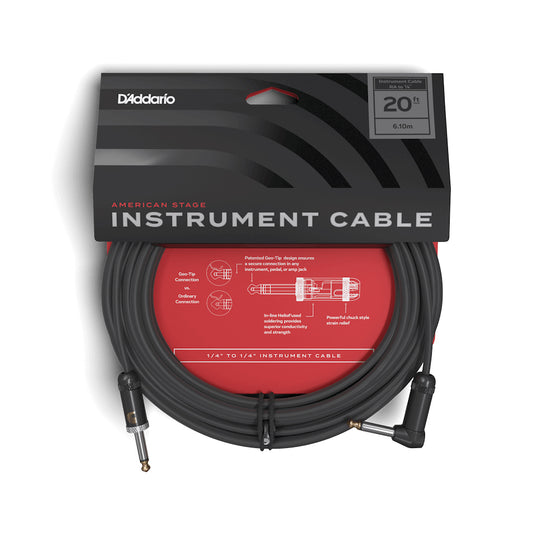D'Addario American Stage Instrument Cable Right to Straight 20ft