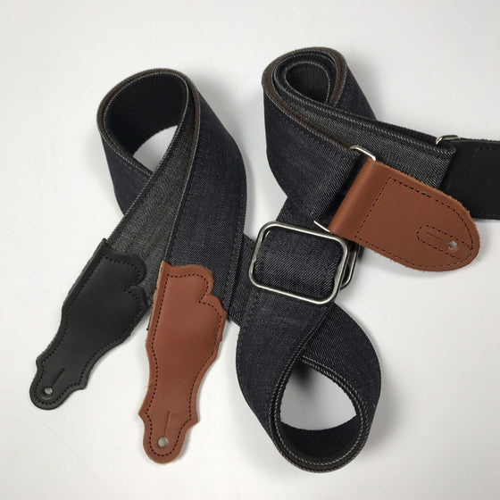 "Franklin Straps 2"" Denim Leather End Tab Strap"
