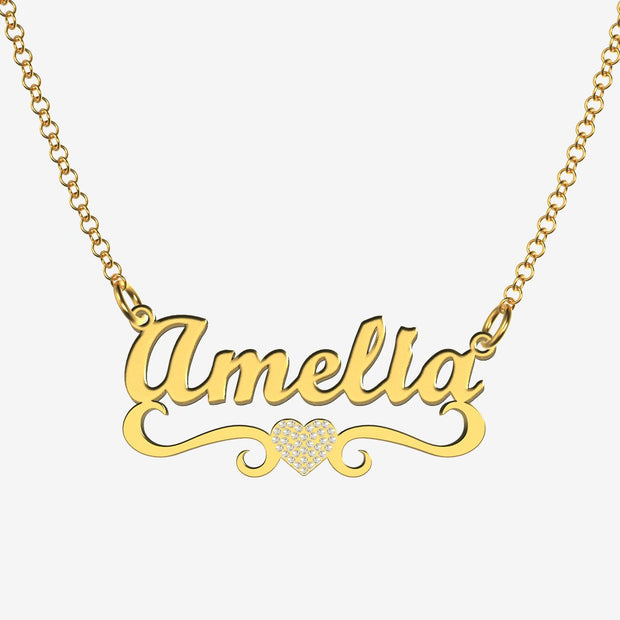 Amelia - Handmade Personalized heart Style Name Necklace