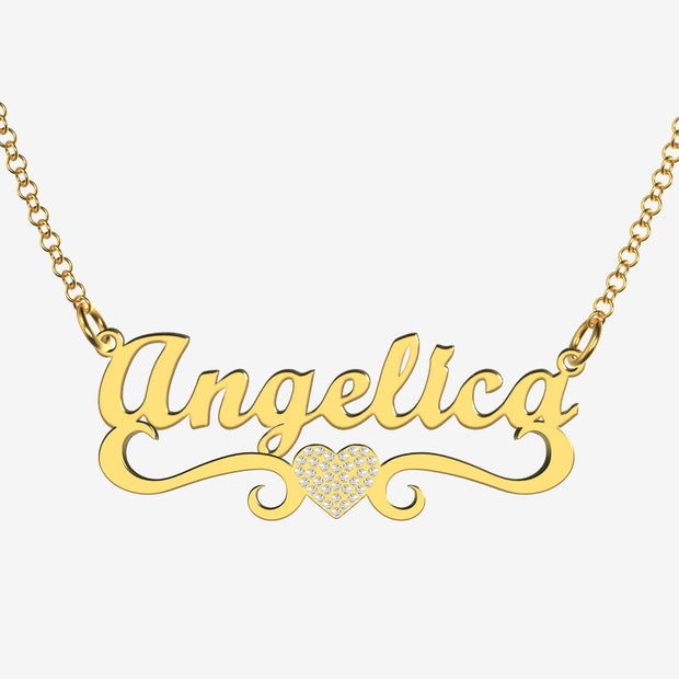 Angelica - Handmade Personalized heart Style Name Necklace