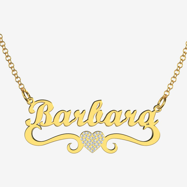 Barbara - Handmade Personalized heart Style Name Necklace