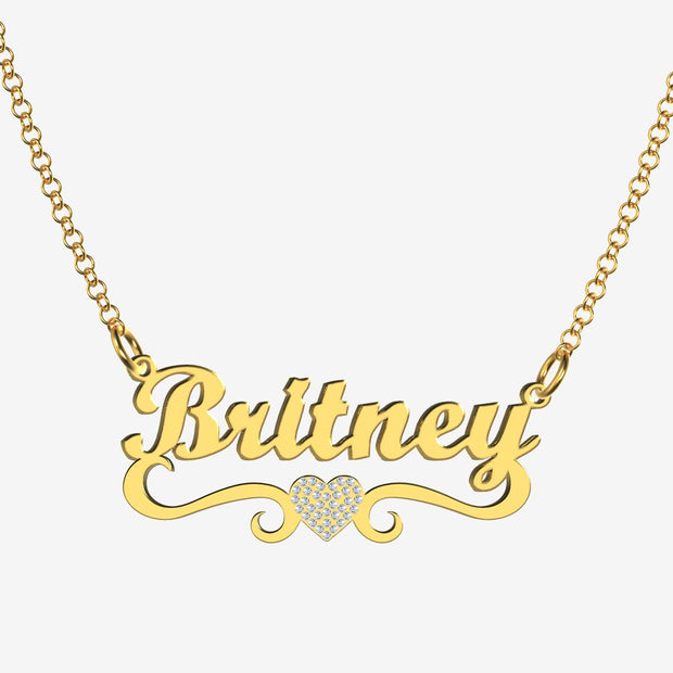 Britney - Handmade Personalized heart Style Name Necklace