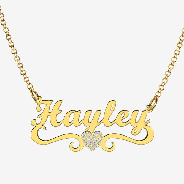 Hayley - Handmade Personalized heart Style Name Necklace