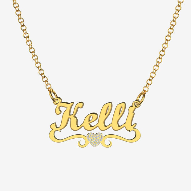 Kelli - Handmade Personalized heart Style Name Necklace
