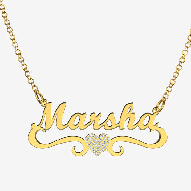 Marsha - Handmade Personalized heart Style Name Necklace