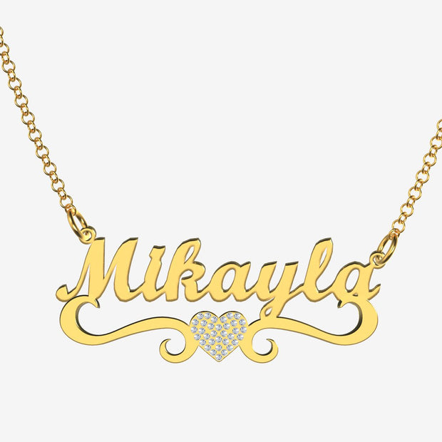Mikayla - Handmade Personalized heart Style Name Necklace