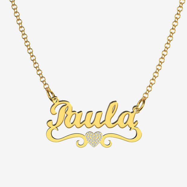 Paula - Handmade Personalized heart Style Name Necklace