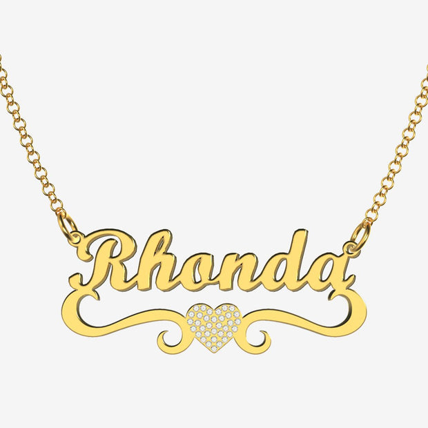 Rhonda - Handmade Personalized heart Style Name Necklace