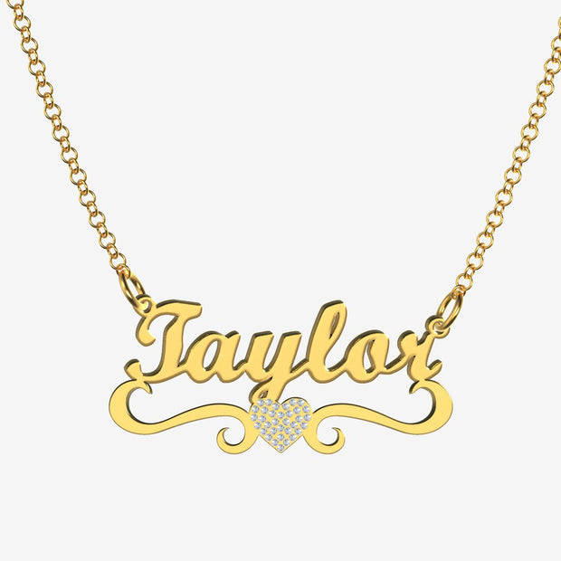 Taylor - Handmade Personalized heart Style Name Necklace