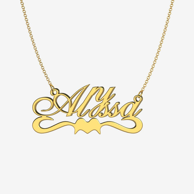 Alyssa - Handmade Personalized Ribbon Style Name Necklace