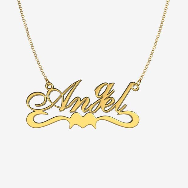 Angel - Handmade Personalized Ribbon Style Name Necklace