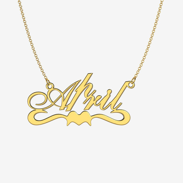 April - Handmade Personalized Ribbon Style Name Necklace