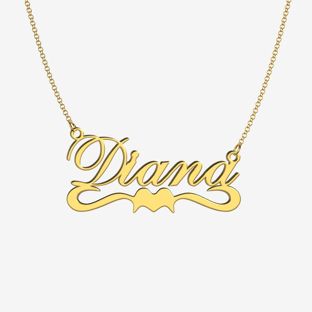 Diana - Handmade Personalized Ribbon Style Name Necklace