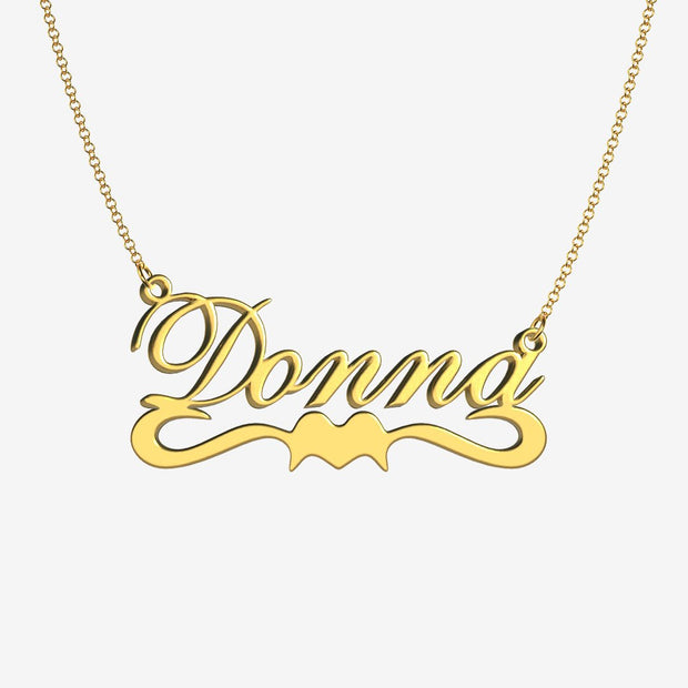 Donna - Handmade Personalized Ribbon Style Name Necklace