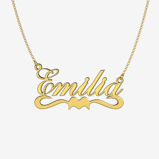 Emilia - Handmade Personalized Ribbon Style Name Necklace