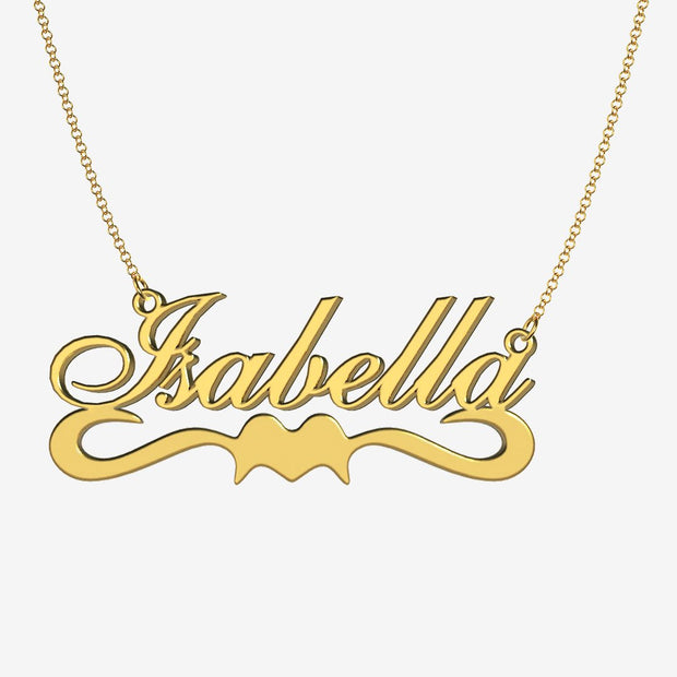 Isabella - Handmade Personalized Ribbon Style Name Necklace